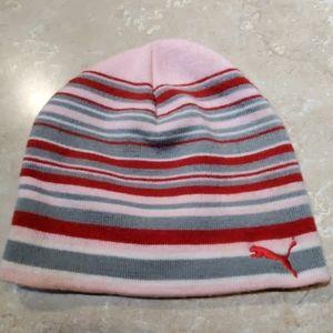 Puma Pink Gray Red Striped Beanie Hat